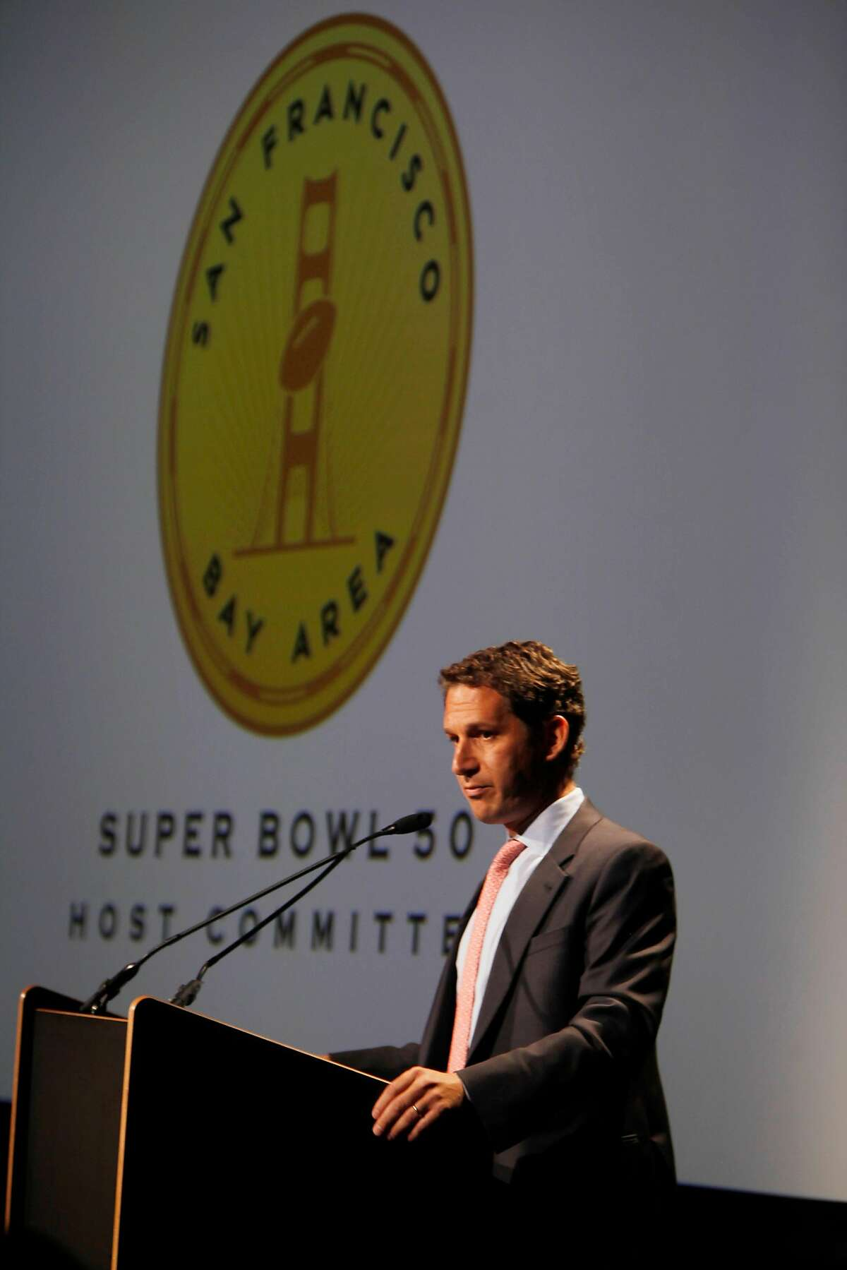 Daniel Lurie, Chair, San Francisco Bay Area Super Bowl 50 Host Committee speaks during a press conference updating plans for the 2016 Superbowl held by the San Francisco Bay Area Super Bowl 50 Host Committee in the Kanbar Forum at the Exploratorium on Thursday June 5, 2014 in San Francisco, Calif.