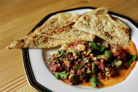 Lamb tartare is shown at Nancy's Hustle, 2704 Polk, Tuesday, Dec. 5, 2017, in Houston.