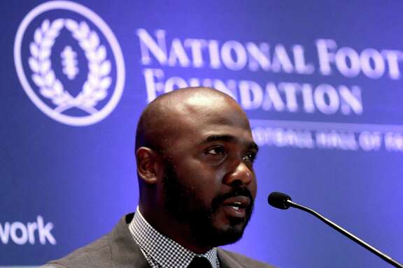 NEW YORK, NY - DECEMBER 05:  Marshall Faulk speaks among the 2017 College Football Hall of Fame Class during the press conference for the 60th NFF Anual Awards Ceremony at New York Hilton Midtown on December 5, 2017 in New York City.