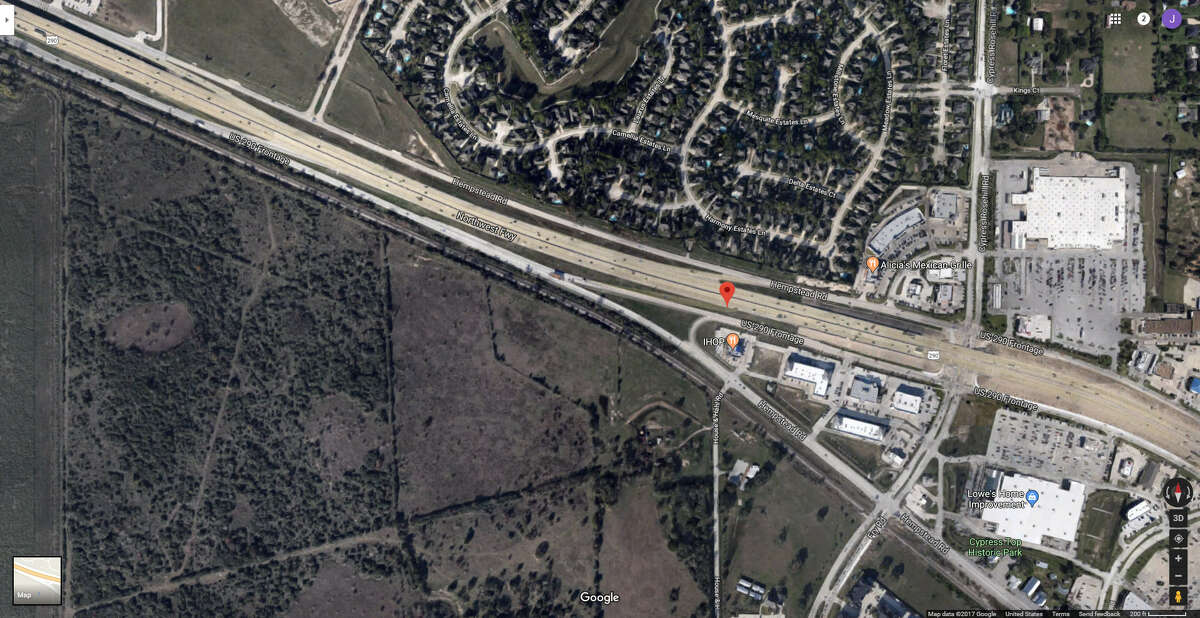 FILE - A screenshot of a Google Maps image of the 24800 block of the Northwest Freeway in Cypress, Texas. On Dec. 12, 2017, Harris County Sheriff's deputies reported a man suffered a gunshot wound at an area gun range.