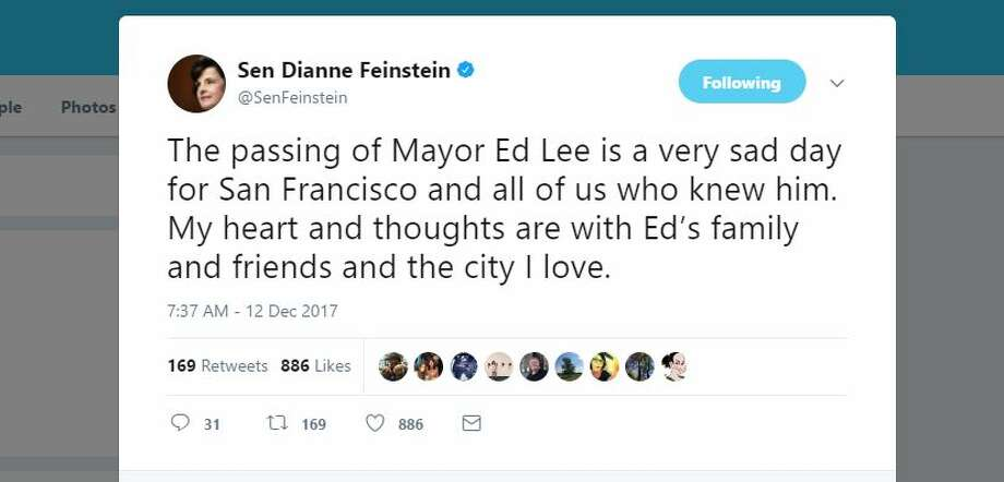 Politicians and friends react to news that San Francisco Mayor Ed Lee died early Tuesday morning. Photo: Twitter
