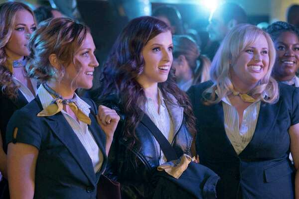 "(L-r) Flo (Chrissie Fit), Aubrey (Anna Camp), Stacie (Alexis Knapp), Chloe (Brittany Snow), Beca (Anna Kendrick), Fat Amy (Rebel Wilson) and Cynthia Rose (Ester Dean) in ""Pitch Perfect 3,"" directed by Trish Sie."