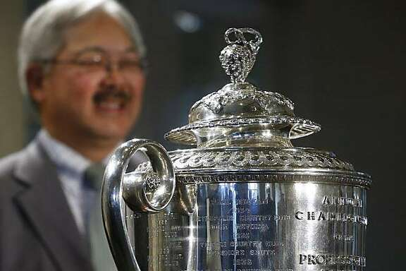 Mayor Ed Lee stands behind the Wanamaker Trophy during an event at the Olympic Club in San Francisco, Calif. on Wednesday, Nov. 8, 2017 to announce that the club will host the 2028 PGA Championship and the Ryder Cup in 2032.