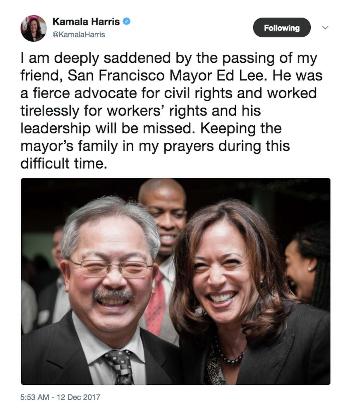 Politicians and friends react to news that San Francisco Mayor Ed Lee died early Tuesday morning.