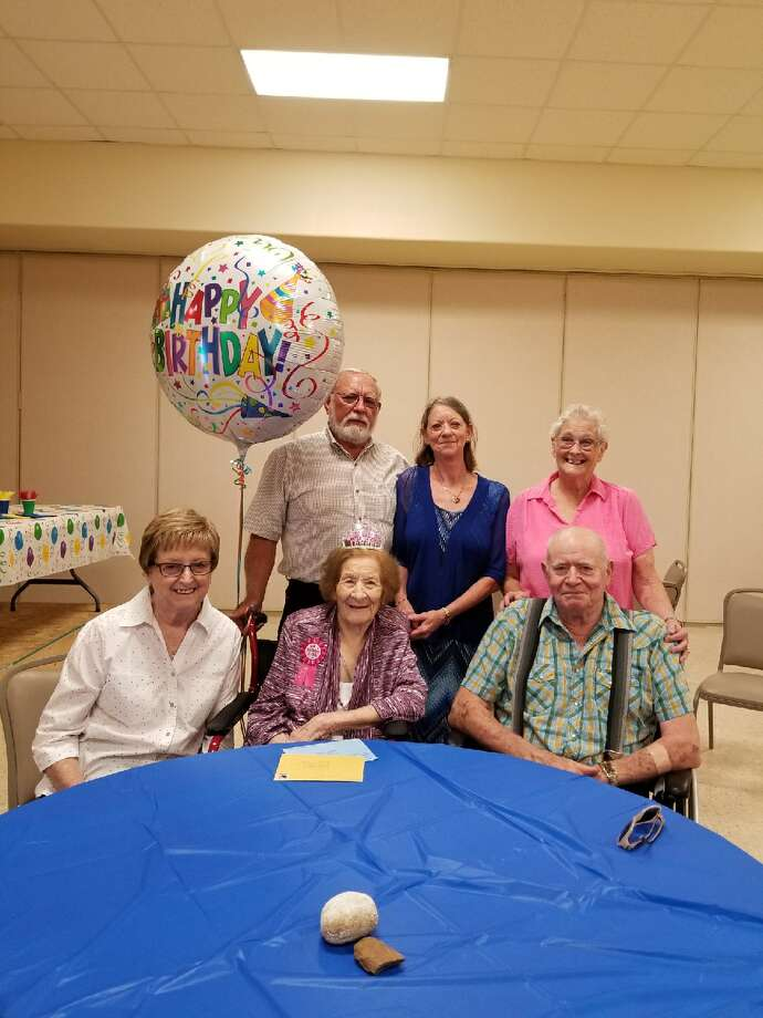 Birthday party: Clyde Kinsey,standing from left, Glynda Bremer andSandra Kinsey; and Freda Kinsey, sitting from left; Lilean Kinsey andRoyce Kinsey Photo: Courtesy Photo