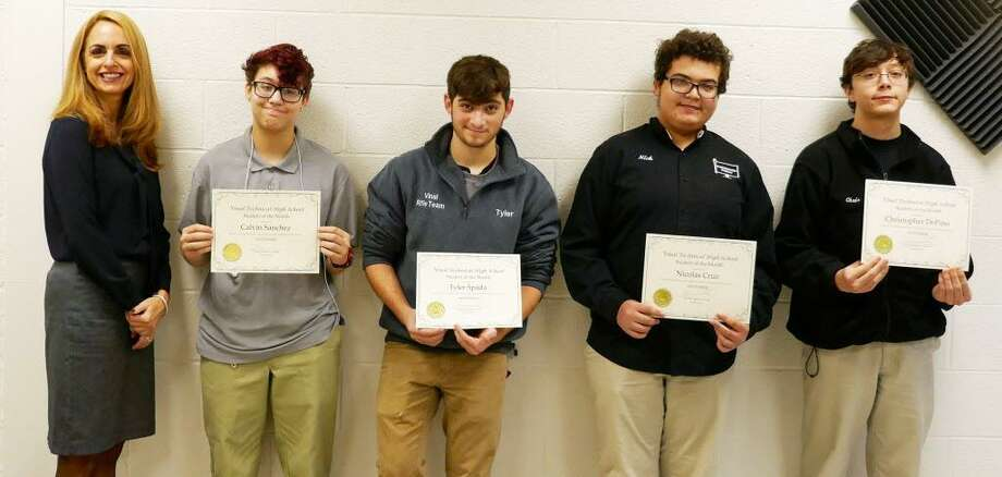 From left are Vinal Technical High School Principal Nikitoula Menounos and November students of the month Calvin Sanchez, Tyler Spada, Nick Cruz and Chris DePino. Photo: Contributed Photo