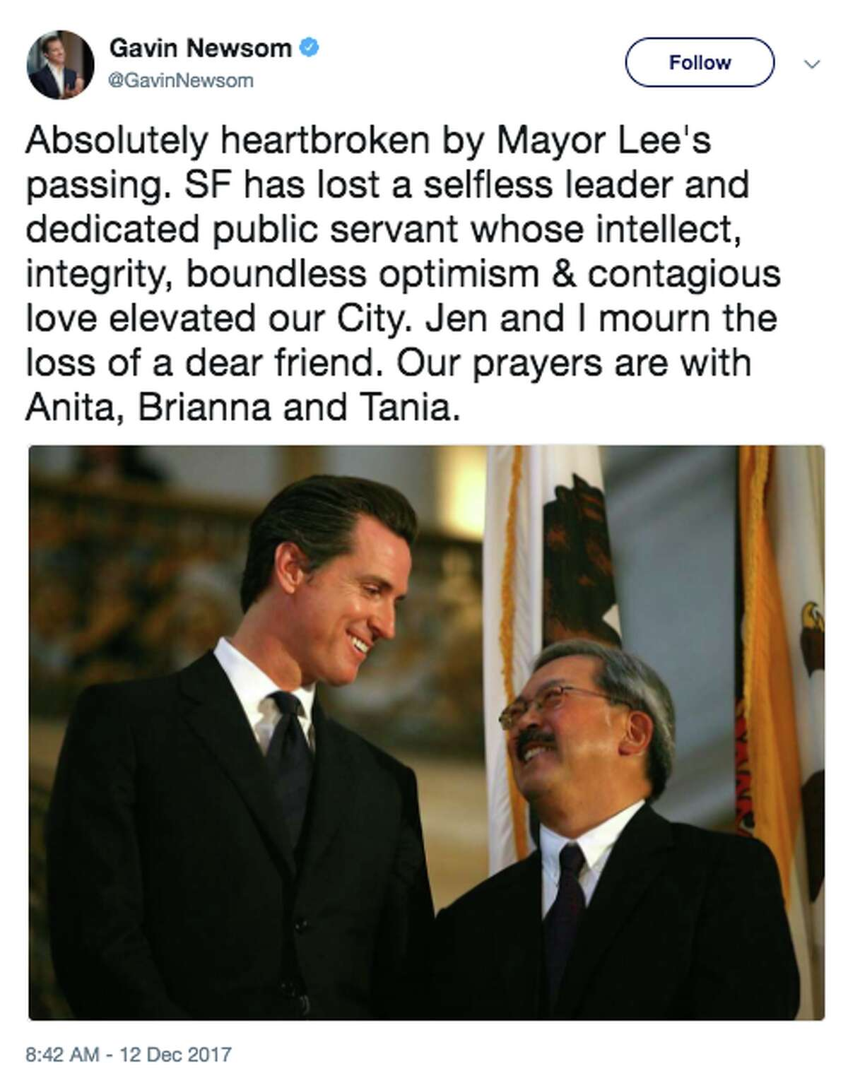 """Lieutenant Governor Gavin Newsom responded on Twitter to the passing of San Francisco Mayor Ed Lee by saying he's """"absolutely heartbroken."""""""