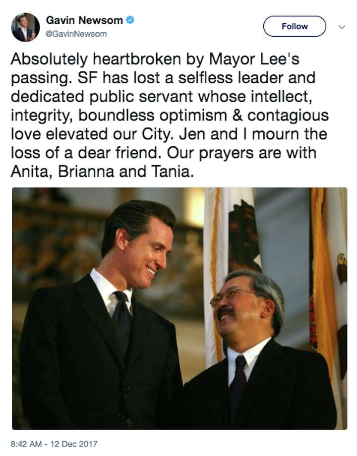 "Lieutenant Governor Gavin Newsom responded on Twitter to the passing of San Francisco Mayor Ed Lee by saying he's ""absolutely heartbroken."" Photo: Twitter Gavin Newsom Reaction Ed Lee"