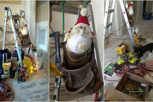 A family in northwest Houston has made the most of their ongoing rebuilding efforts following flood damage from Hurricane Harvey by decorating one of their ladders like a Christmas tree.
