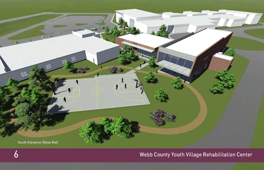 The proposed basketball court is shown behind the existing JJAEP building to the left and the proposed rehabilitation facility to the right at the Webb County Youth Village. Photo: Ausland Architects/Courtesy