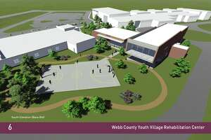 The proposed basketball court is shown behind the existing JJAEP building to the left and the proposed rehabilitation facility to the right at the Webb County Youth Village.