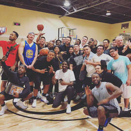 Stephen Curry surprises gym-goers at Oakland's 24-Hour Fitness.