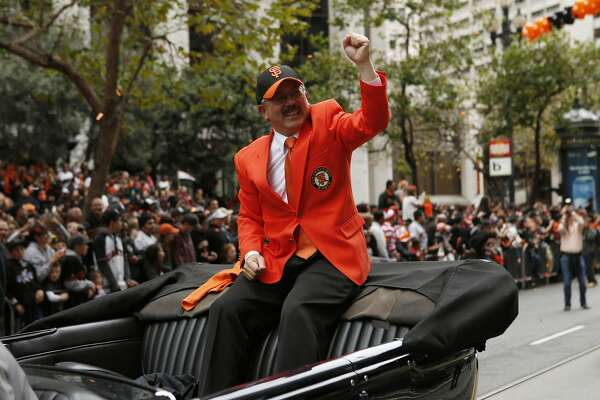 San Francisco Mayor Ed Lee celebrates during the World Series victory parade on Wednesday, October 31, 2012 in San Francisco, Calif.