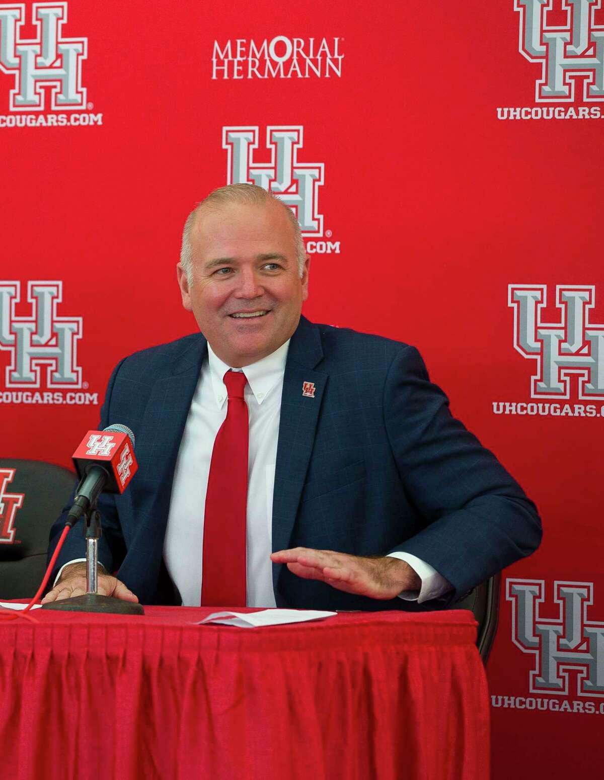 New University of Houston athletic director Chris Pezman takes questions during an introductory press conference at TDECU Stadium, Tuesday, Dec. 12, 2017, in Houston.