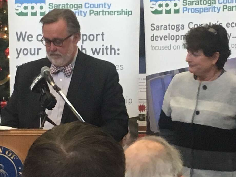 Marty Vanags, left, president of the Saratoga County Prosperity Partnership, with Laurie Poltynski, National Grid's regional executive, on Tuesday at Halfmoon Town Hall to talk about Area 3 development. Photo: By Larry Rulison