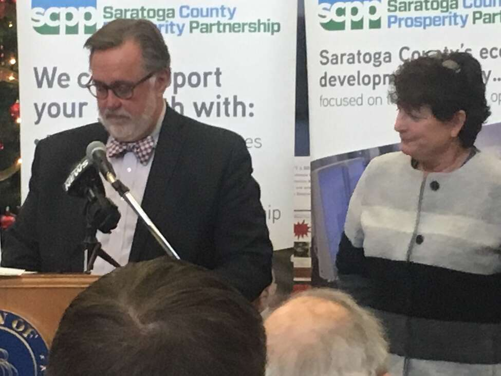 Marty Vanags, left, president of the Saratoga County Prosperity Partnership, with Laurie Poltynski, National Grid's regional executive, on Tuesday at Halfmoon Town Hall to talk about Area 3 development.