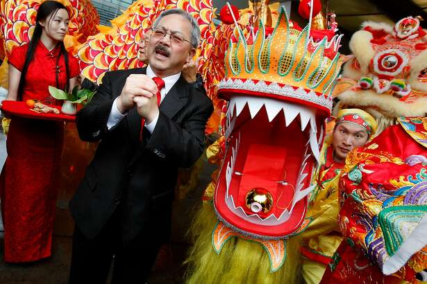 Mayor Ed Lee helped decorate the new dragon (right) being unveiled and gave a speech. Hundreds turned out to celebrate the first day of the Chinese New Year in Chinatown Monday January 23, 2012 including San Francisco Mayor Ed Lee.