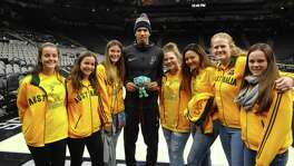 The East Coast Dunkaroos, a traveling team from Australia, saw the San Antonio Spurs beat the Boston Celtics last week and met Danny Green after the game.