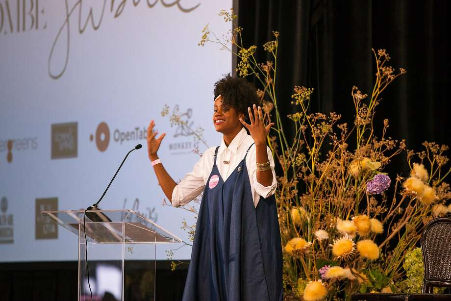 Writer-activist Shakirah Simley opens the Jubilee conference in S.F. with a breathing exercise. Photo: Kelsey McClellan