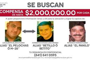 The Tamaulipas government shared a photo of three alleged criminal leaders on a billboard in the Mexican state in hopes of capturing them.