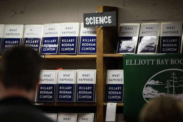 Hillary Clinton's book signing table sits in the science section at Elliott Bay Book Company in Capitol Hill on Tuesday, Dec. 12, 2017.