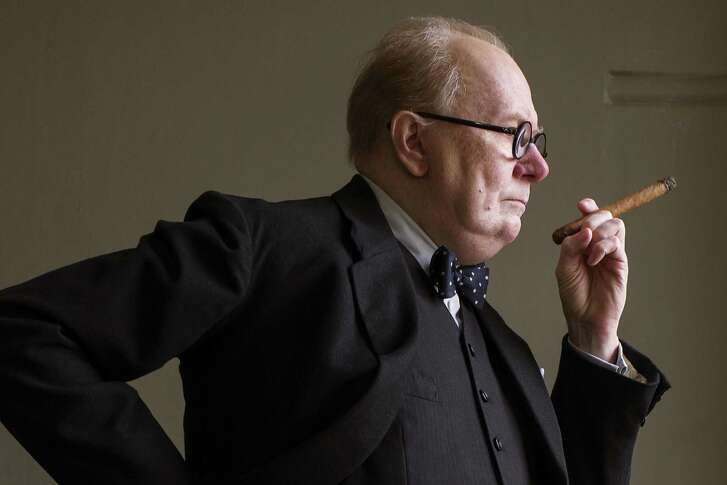 """This image released by Focus Features shows Gary Oldman as Winston Churchill in a scene from """"Darkest Hour."""" On Monday, Oldman was nominated for a Golden Globe for best actor in a motion picture drama for his role in the film."""