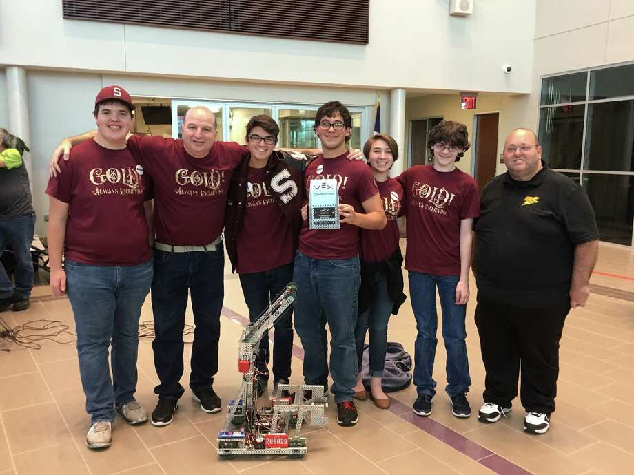 Team Gold! (from left), John Eason, Coach Vic Miller, Nick Allen, Jaiden Johnson, Leila Windham, Josh Flowers, and Tournament Director David Scarcella of Pasadena ISD. (Photo provided by Silsbee ISD.)