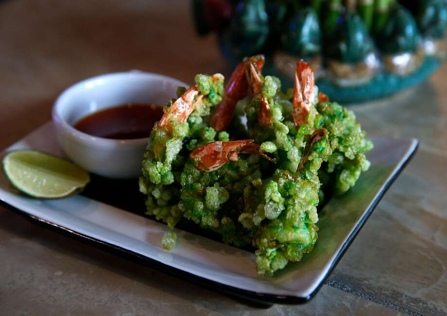 Tom chien com (green shrimp) at the Temple Club in Oakland. Photo: Paul Chinn, The Chronicle