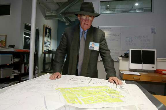 "11/20/12: 11/20/12: Pete Brown with Houston street maps in his office in Houston, Texas.  After very seriously running in 2009, architect and former city council member Peter Brown has transformed himself into Houston's leading utopian. His group, Better Houston, promotes urban planning and walkability. In on-line videos, Brown turns himself into a Stephen Colbert-like character, ""Pedestrian Pete,"" who walks around the city with guests, chatting about the good, the bad and the ugly."