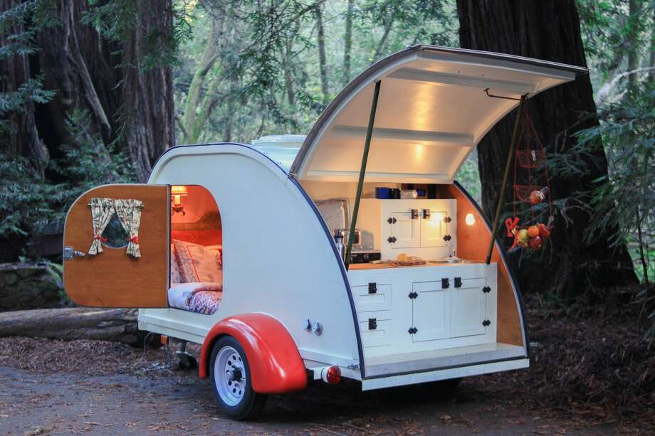"Pictured here is Camp Weathered's teardrop trailer. ""It's essentially a huge tent upgrade,"" McNeil said. Photo: Kyawt Thiri Nyunt, Kyawt Thiri Nyuent"
