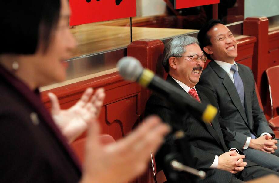 In this 2011 file photo, San Francisco Mayor Ed Lee, center, and former Board of Supervisors President David Chiu, right, break out laughing as former Oakland Mayor Jean Quan addresses a crowd during a ceremony in their honor at the Chinese Historical Society in San Francisco. Photo: Carlos Avila Gonzalez, The Chronicle