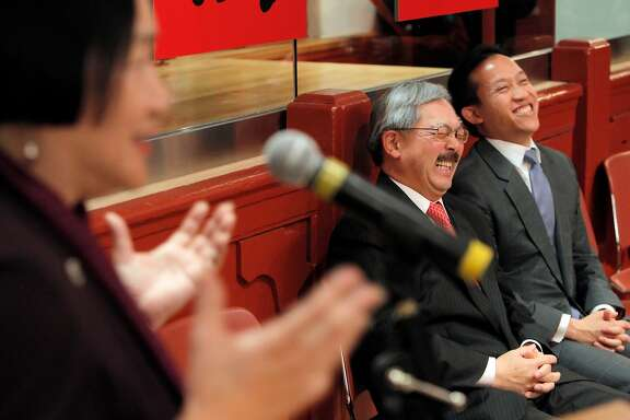 San Francisco Mayor Ed Lee, center, and SF Board of Supervisors President David Chiu, right, break out laughing as Oakland Mayor Jean Quan addresses the crowd during a ceremony in their honor. Lee, Quan and Chiu were feted at the Chinese Historical Society in San Francisco, Calif., on Wednesday, February 16, 2011, by the Asian Pacific American Leadership Project.