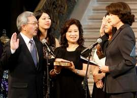 Senator Dianne Feinstein administered the oath to Mayor Lee as his wife Anita held the Bible and his daughters looked on. San Francisco Mayor Ed Lee was inaugurated at a ceremony at San Francisco City Hall Sunday January 8, 2012.