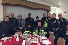 Norwalk, Conn., police met the Wreaths Across America convoy as it entered the town around 6 p.m. on Tuesday, Dec. 12, 2017. They were settled in to eat at St. Ann's Club shortly after arriving.