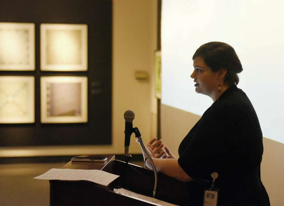 Coordinator of Interpretative Services and Audience Engagement Diana Rafferty leads the Museums for All training session at the Bruce Museum in Greenwich, Conn. Tuesday, Dec. 12, 2017. Rafferty addressed common misconceptions about poverty and gave tips to museum employees on welcoming those living below the poverty line. The Museums for All program enables individuals and famlies up to four to visit the Bruce Museum free of charge by showing their EBT card. Photo: Tyler Sizemore / Hearst Connecticut Media / Greenwich Time