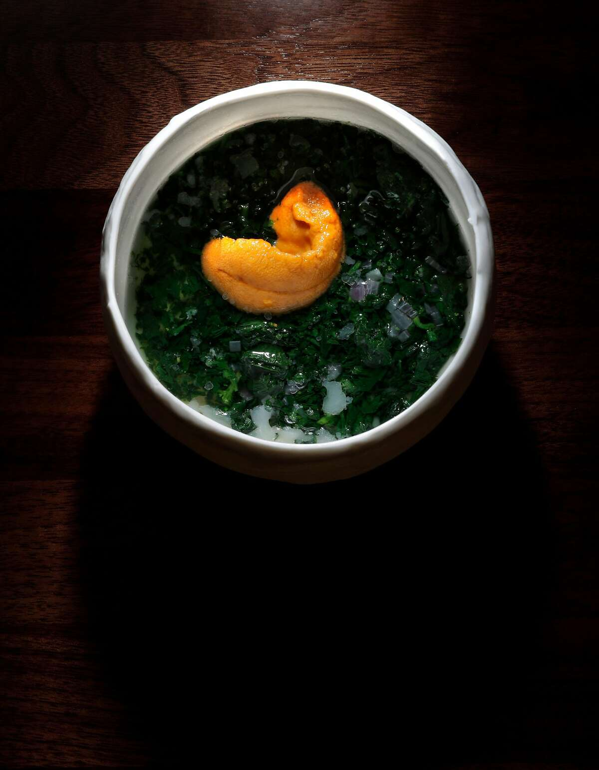 The warm bone marrow flan with uni and wild nettle served at the new Gibson restaurant in the redone Bijou Hotel in San Francisco, Calif., on Sunday, December 10, 2017.
