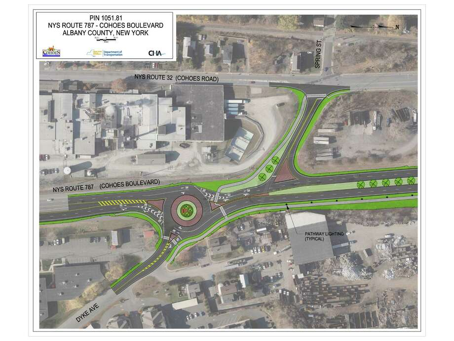 A state Department of Transportation rendering of the proposed roundabout at the intersection of Dyke Avenue and Route 787 that is part of the $15 million project to transform state Route 787 in the city of Cohoes into a traffic calming boulevard.