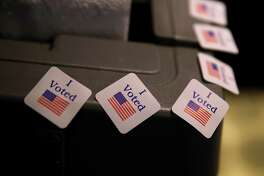 MOUNTAIN BROOK, AL - DECEMBER 12:  I voted stickers are displayed on a voting machine as democratic senatorial candidate Doug Jones casts his ballot at Brookwood Baptist Church on December 12, 2017 in Mountain Brook, Alabama. Doug Jones is facing off against Republican Roy Moore in a special election for U.S. Senate.  (Photo by Justin Sullivan/Getty Images)