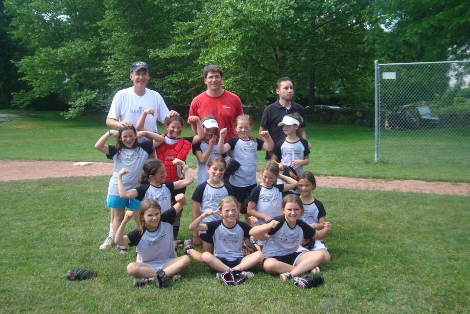 The undefeated Greenwich Girls Softball team in the 8-9 year-old division included, from bottom left: Trinity Holmberg, Stephanie Beshoory, Erin O'Keefe, Katie Large, Michelle Morganti, Lindsey Greenhill, Nicole Tang, Julie Gambino, Maddie Jenkins, Allison Neviera, Kelly Brogan, Madison Martello. Coaches: Glenn Brogan, Chris Gambino and Dave Martello. Photo: Contributed Photo / Greenwich Citizen