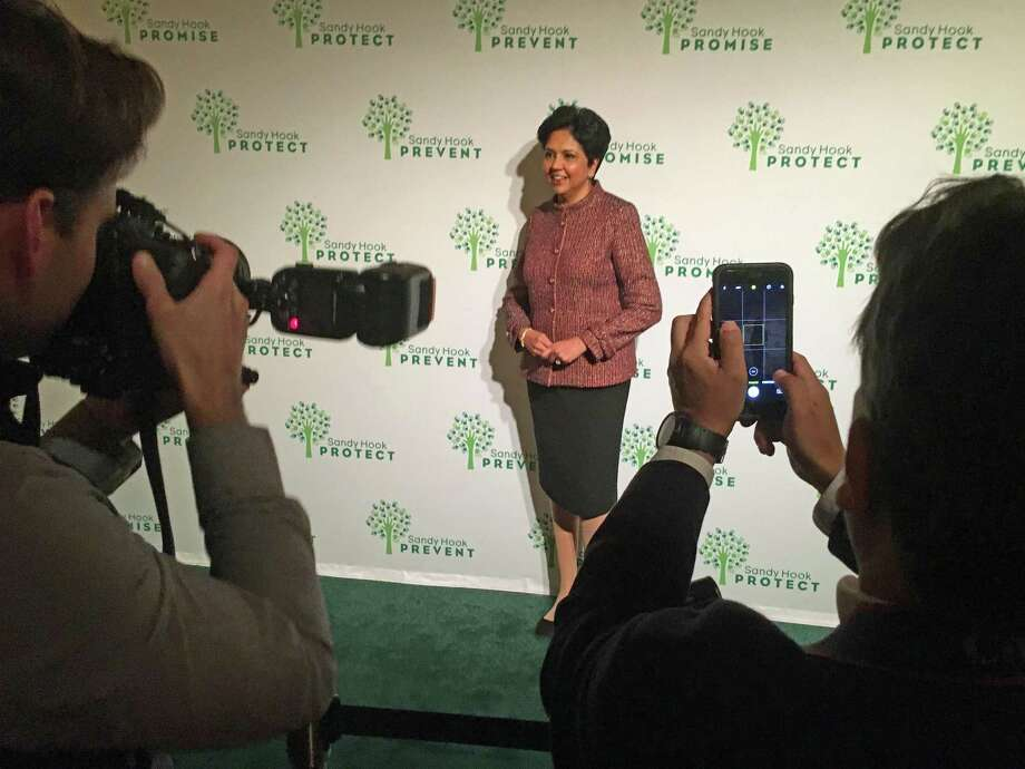 Indra Nooyi, CEO of PepsiCo, on the Red Carpet area Photo: Dan Haar