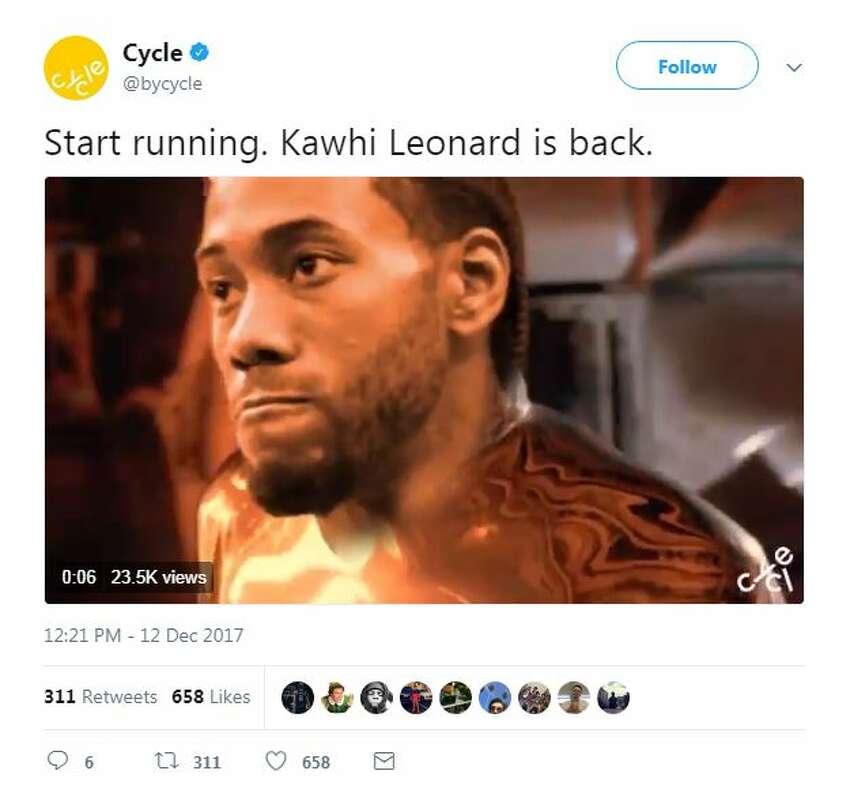 Start running. Kawhi Leonard is back.