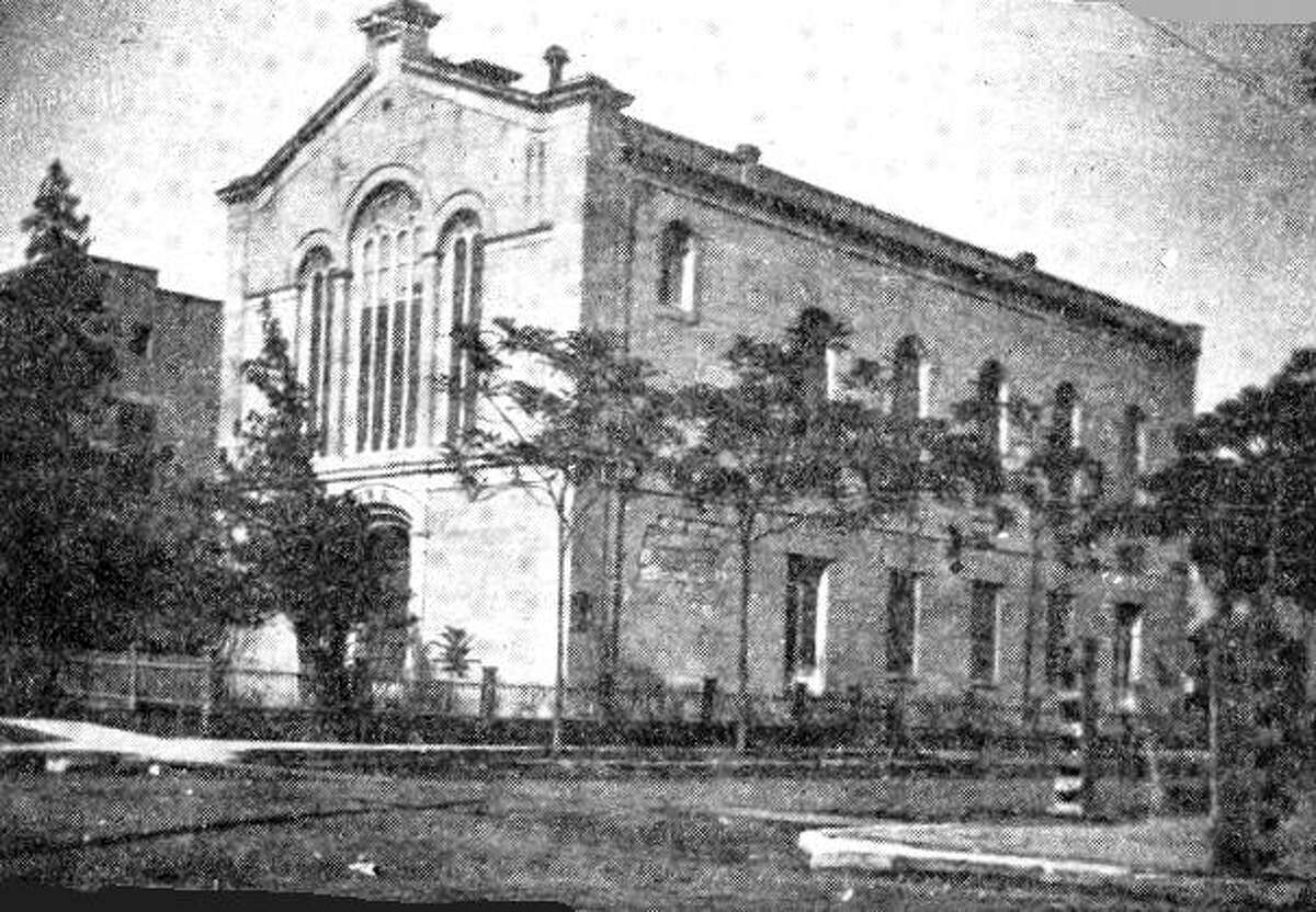 The original Temple Beth-El, the oldest synagogue in San Antonio, opened on the corner of Travis and Jefferson Streets in 1874.