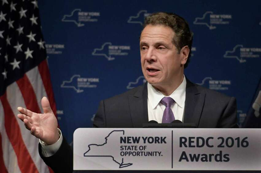 Governor Andrew Cuomo greets the audience at the 2016 Regional Economic Development Council Awards on Thursday Dec. 8, 2016, In Albany, N.Y. (Skip Dickstein/Times Union archive)