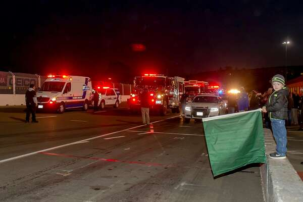 Participants gather around a variety of emergency response vehicles at Tuesday night's Laps of Appreciation at Sonoma Raceway. More than $72,600 was raised for the Sonoma County Resilience Fund and the Redwood Valley and Santa Rosa Community Recovery Fund in the wake of October's Wine Country wildfires.