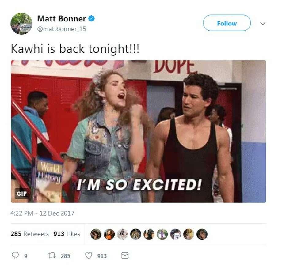 Kawhi is back tonight!!! Photo: Twitter