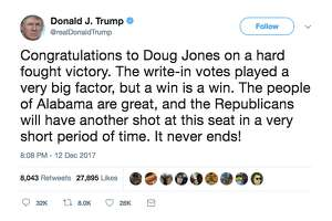 Politicians react to Democrat Doug Jones winning over Republican candidate Roy Moore in Tuesday's special election in Alabama for senate.