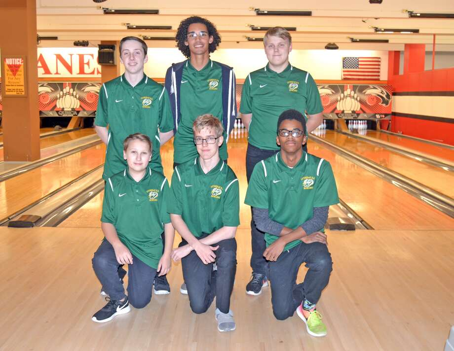 Members of the Metro-East Lutheran boys' bowling team include, front row left to right, Jacob Mitchell, Victor Pouls and Nathaniel Perry. In the back row, from left to right, are Kyle Asbury, Michael Hubach and Erik Broekemeyer.