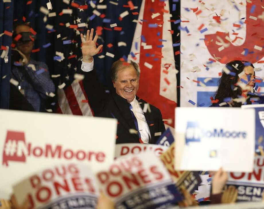 Democratic U.S. Senator elect Doug Jones greets supporters during his election night gathering the Sheraton Hotel on December 12, 2017 in Birmingham, Alabama. Doug Jones defeated his republican challenger Roy Moore to claim Alabama's U.S. Senate seat that was vacated by attorney general Jeff Sessions. (Photo by Justin Sullivan/Getty Images) Photo: Justin Sullivan / Getty Images / 2017 Getty Images