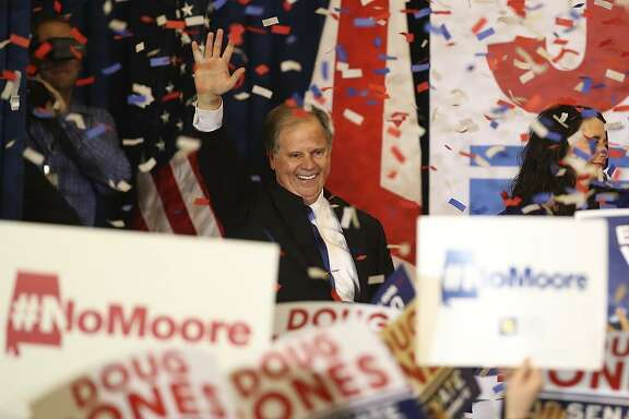 Senator-elect Doug Jones greets backers at his victory party in Birmingham, Ala., after defeating Republican Roy Moore.