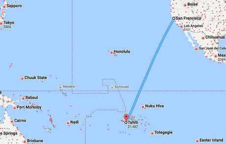 United's new nonstop to Tahiti is 4,200 miles in each direction Photo: Google Maps